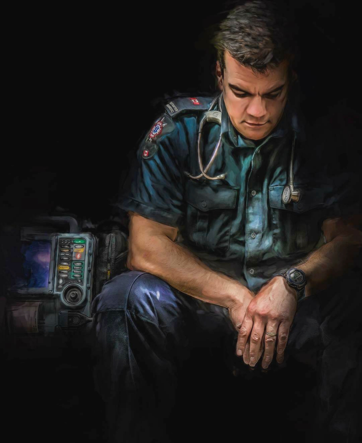 A drawing of a paramedic